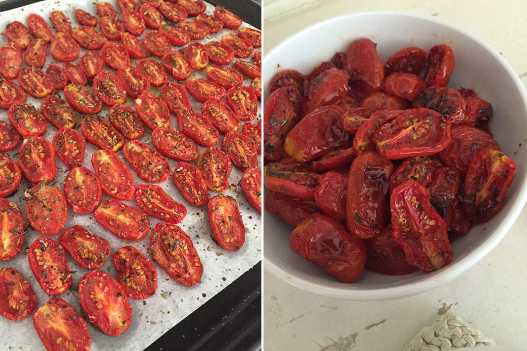 pomodorini confit, al forno con sale, zucchero e origano